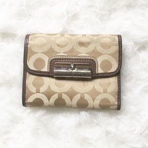 Coach op art trifold beige/brown signature wallet